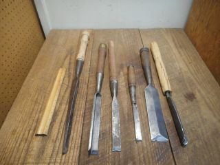 L4202 - LARGE Vintage & Antique Wood Chisels - Woodworking tools - BEATTY,  Etc 8