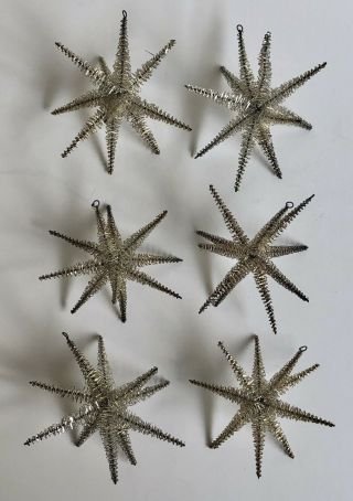Set Of 6 Antique Vintage Gold Metallic Tinsel Wire Star Christmas Tree Ornaments