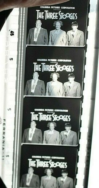 35mm Three Stooges Sappy Bull Fighter B & W Movie Film Theater Vintage 1957