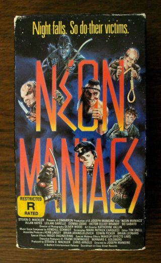 Vintage Vhs Neon Maniacs 1985 1986 Lightning Video 1987 Horror Gore Slasher Cult