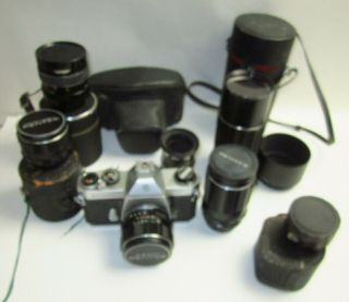 Vintage Pentax Sportmatic Sp2 Camera & 5 Lenses For Restoration
