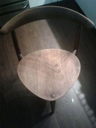 Hans J Wegner Heart Tripod Chair Vintage 1950s,  Oak And Teak,  Fritz Hansen Manu