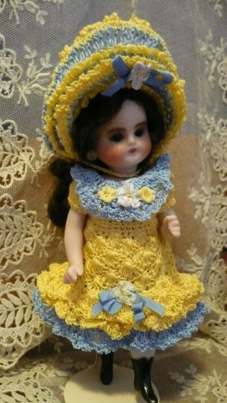 "Yellow French Style Crochet Dress,  Hat For 5.  5 "" Kestner Antique All Bisque Doll"