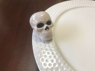 Nora Fleming Gray Skull Mini - Retired & Rare.  Cake Stand Not.