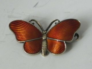 Vintage Sterling Silver Enamel Butterfly Pin By Ivar Holth Norway