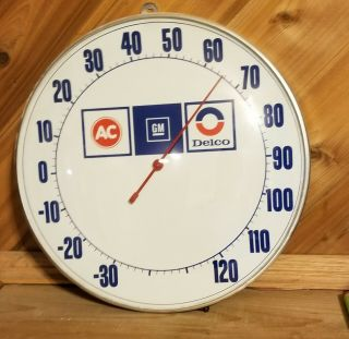 Vintage Gm Ac Delco Gas Oil Advertising Thermometer Sign Glass Metal 12in Rare
