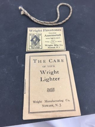 Vintage Semi Automatic Wright Pocket Lighter Ephemera - Booklet & Flint Envelope