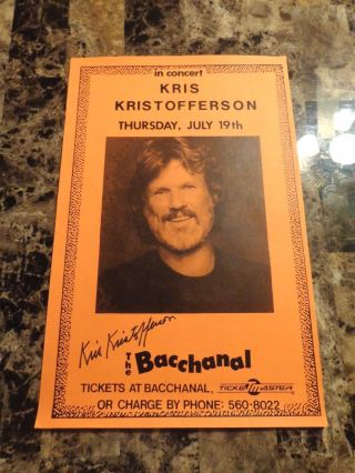 Kris Kristofferson Rare Autographed Hand Signed Concert Poster Country Music