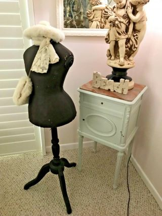 Very Rare Stockman Childs Wasp Waist Shabby Brocante Mannequin Dress Form Signed