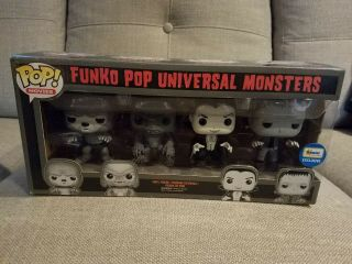 Funko Pop Movies: Universal Monsters 4 Pack B&w Gemini Exclusive - Rare
