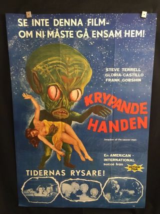 Invasion Of The Saucer Men One Sheet Swedish Movie Poster Rare Steve Terrell