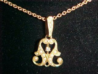 "Vintage Lavalier With Diamond And Pearls On 16 "" Chain Both Marked 14kt."