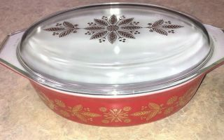 Vintage Pyrex Promo Htf Golden Poinsettia Red Casserole Dish 2.  5 Qt With Lid