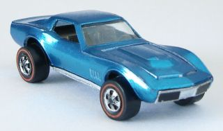 1968 Hot Wheels Custom Corvette Redline - Metallic Light Blue