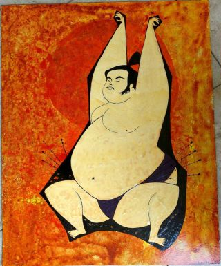 Rolly Crump Painting Of Sumo Wrestler Circa 1960 Signed Oil On Panel