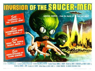 1957 Invasion Of The Saucer Men Vintage Sci - Fi Movie Poster Print Style B 18x24