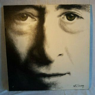 "Vintage One Of A Kind K J Krump Signed & Dated 23 "" X 23 "" Painting Of John Lennon"