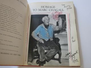 Drawing By Marc Chagall Signed Dedicated Siecle Homage Book W Litho