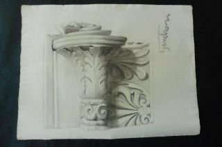 Italian School 1899 - Decorative Architectural Study Sign.  Gendron - Charcoal