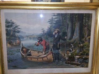 "1863 Currier & Ives Print "" An Early Start "" American Hunting Scenes."
