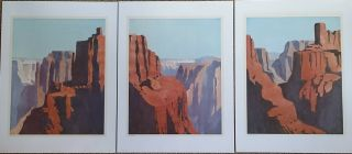 """"""" Mesa """" Robert White Tryptich Signed Limited Edition Southwest Landscape"""