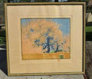 Gustave Baumann Green Gate Orchard Woodblock Print Pencil Signed&/titld
