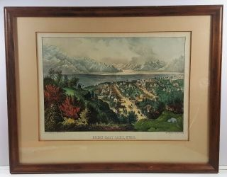 """Currier & Ives Lithograph """" Great Salt Lake,  Utah """" Hand Coloring C.  1870"""