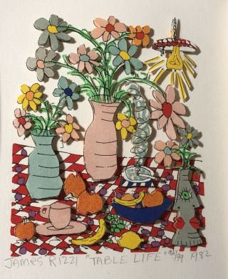 James Rizzi (american,  1950 - 2011).  Table Life,  Signed,  Titled