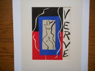 Striking 1937 Henri Matisse Lithograph,  Cover Art For Verve No.  1,  Mourlot Litho