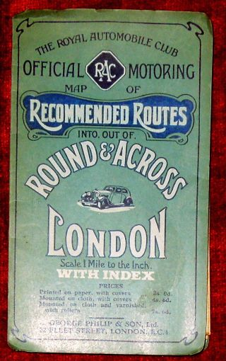 "George Philip & Son R.  A.  C.  1 "" :1 Mile Linen Backed Map Of London Routes - C.  1936"