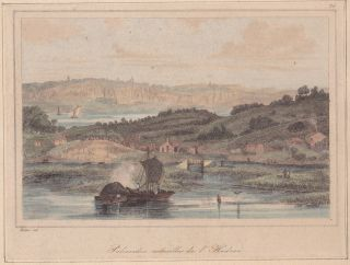 1837 Engraving Jacques - Gérard Milbert: Palisades On The Hudson River