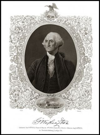 George Washington Cartouche Engraving Excelsior Magnificent Stuart