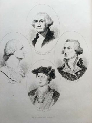 1880 George Washington Portrait Engraving Multiple Historical Views Print
