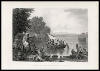Landing Of Hendrick Hudson On The Hudson River 1874 Antique Engraved Print