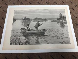 Fine Antique 1904 Print,  A B Frost,  Muskallonge Fishing,  Men In Boat,  Fish Leaps