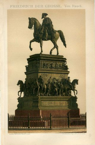 1895 Equestrian Statue Of Frederick The Great Germany Sepia Lithograph Print