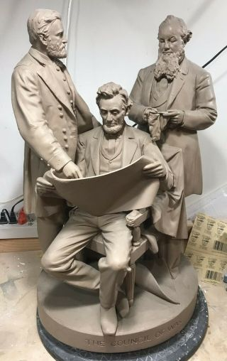 Iconic John Rogers Group Council Of War Civil Abraham Lincoln Ulysses Grant Fpu